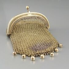 Antique French Sterling Silver & Vermeil Gold Washed  Mesh Purse, Beads, Paris
