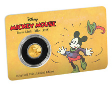 2016 Disney Mickey Mouse  - Brave Little Tailor 0.5 Gram .9999 Gold Coin