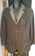 HUGO BOSS Men Sport Coat Blazer Jacket Black Grey Stripes Denim 38