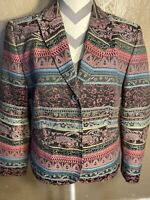 Womens Jacket Koret Size 12 Geometric Design Long Sleeved Button Down Multicolor