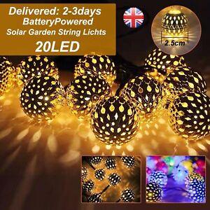 20LED Hanging Lantern Fairy Light Moroccan Solar Garden String Light Outdoor UK