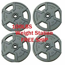 NEW Weider Barbell 25 lbs Weight Plates - 4 x 25 lbs - Cast Iron 100 lbs total