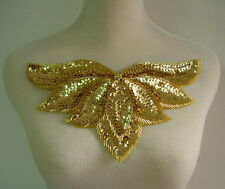 Hp46 Gold Sequined Beaded Applique Leaf Collar Hipbelt for Dancewear/Samba Wear