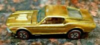 HOT WHEELS VINTAGE REDLINE 1968 CUSTOM MUSTANG U.S. GOLD ALL ORIGINAL UNRESTORED