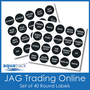 SET ROUND SWITCH PANEL LABELS - Boat/Marine/Caravan/4x4 Toggle Decal Stickers