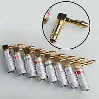 8Pcs Nakamichi Angle Speaker Banana Plug Adapter Wire 24K Gold Plated  Useful