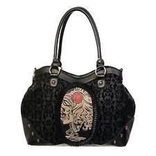 Banned Flocked Cameo Lady Rose Handbag