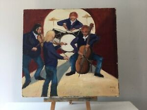 Vintage Impressionist 1960s Oil Painting On Board. The Band.
