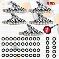 """50X Mini Red Clear len 3/4"""" Round Side 3 LED Marker Trailer Bullet License Light"""