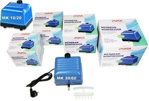 Osaga Membrankompressor MK 10-60 Luftpumpe 600-3600 l/Std Teich u Aquarium L
