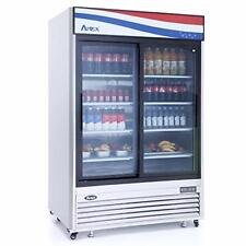 Atosa Mcf8709 Glass Door Refrigerator, Stainless Steel 2 Sliding Doors with Led
