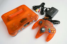 Fire Orange Funtastic Color Nintendo 64 N64 Console Video Game System Complete