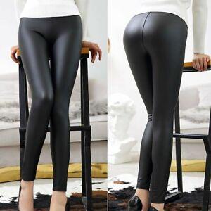 Sexy Leder Optik Leggings Stretch Damen Hose Schwarz Wetlook Leggins XS S M L XL
