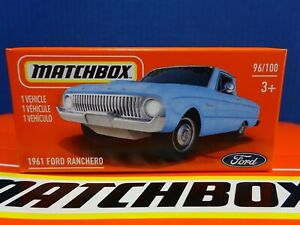 2021 Matchbox POWER GRABS 1961 FORD RANCHERO in BLUE. MBX FORD 96/100 BOXED.