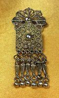 Vintage Antique 925 Fine Sterling Silver Filigree Brooch Pin