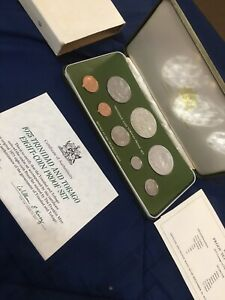 1975 Coinage of Trinidad and Tobago 8-coin Proof Set SEALED w/ COA (2) Silver