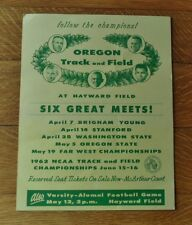 >RARE 1962 University of Oregon Ducks TRACK & FIELD CARDBOARD SCHEDULE-SIGN