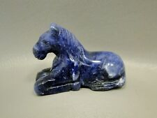 Gemstone Horse Carving Blue Sodalite 2 inch Small Stone Animal Fetish #3