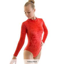 Girls Ladies Long Sleeve Polo Turtle Neck Dance Leotard Velvet Modern Gymnastics