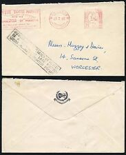 GB METER FRANKING 1965 Boxed PRINTED PAPERS WORCESTER IRREGULAR LATE POSTED