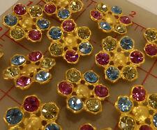 """12 Czech multi matte gold metal rhinestone shank buttons pink blue 1"""" 26mm #708"""