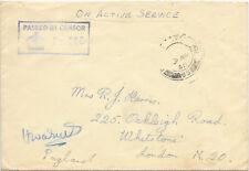 Cubierta de servicio activo GB censor de 338 de abril de 1940 En Caja; F.P.O.69.