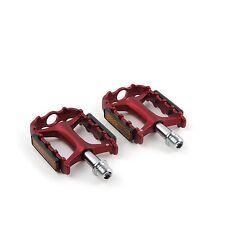"Wellgo M-111 Aluminum Road Mountain MTB Bike 9/16"" Platform Flat Pedals - Red"