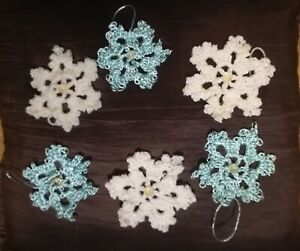6 Crochet Turquoise Cream Shimmer Crystal Centre Hanging Tree Snowflake Decor