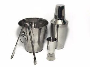 4PC Stainless Steel Cocktail Shaker Set Bar Mixer Kit Drink Bartender Champagne