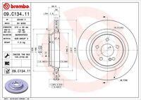 Disc Brake Rotor-Premium UV Coated OE Replacement Rear Brembo 09.C134.11
