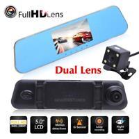 "HD 1080P 4.3"" Car DVR Dual Lens Camera Rear View Mirror Dash Cam Video Recorder"