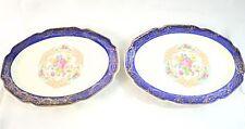 Vintage Madam Du Barry Royal Blue 22K Gold Serving Plates By Stetson