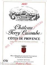 étiquette vin COTES DE PROVENCE Château Ferry Lacombe 1980 wine label