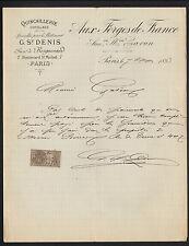 """PARIS (V°) QUINCAILLERIE OUTILLAGE """"AUX FORGES DE FRANCE / Maison CARON"""" en 1893"""