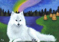 ACEO,  PRINT,  WOLF, TEEPEE, AUROR BOREALIS, NORTHERN LIGHTS