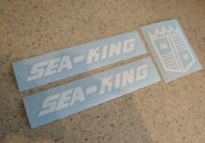 Sea-King Vintage Outboard Motor Decal Set White FREE SHIP + FREE Fish Decal!