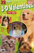 32 Cute Baby Pets 3-D Valentines Boys and Girls School Class Room V-Day Cards Q1