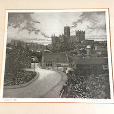 Durham Cathedral And Castle Framed Signed Engraving R.Gallard 1980