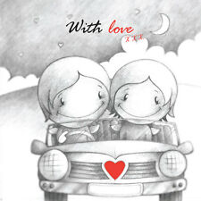 'With Love' Cupids Birthday/Annivers Card for him/her romantic couple drive car