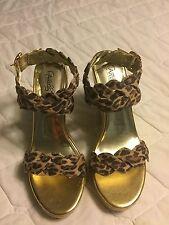 Womans Carlos Cheetah Print Ankle Wrap Wedges Sz 8M