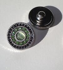 Green Rhinestones Snap Button Chunk Charm 18mm cat's eye antiqued silver tone