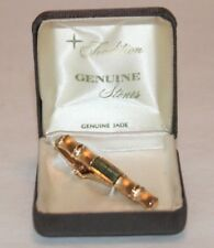 Vtg New With Original Box Anson Gold Tone Jade & Bamboo Style Tie Clip Free Ship