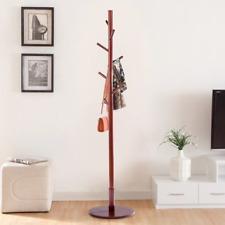 1x Wooden Coat Rack Stand Entryway Tree Coat Umbrella Holder Round Base Hangers