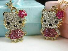 Hello Kitty Pink Rhinestone Crystal Gold Tone Pendant & Necklace Easter US Selle