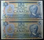 BANK OF CANADA 1979 - 2 Consecutive $5 NOTES - Signed Lawson & Bouey