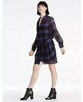 Lucky Brand Shirt Dress L Blue Red Plaid Print Check Tie Front Women's NWT $139