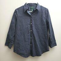 Ralph Lauren Women Button Up Shirt Sz Large Blue White Polka Dot No Iron 3/4 Slv