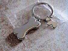 DOG BONE CHARMS KEY CHAIN SHINY SILVER PET BENEFITS FERAL CAT RESCUE NON-PROFIT