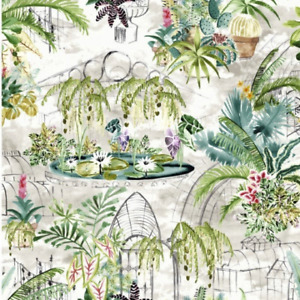 Oilcloth Tablecloth Eden Fern Leaves ,Garden Flowers, Cactus plants Cream Ground