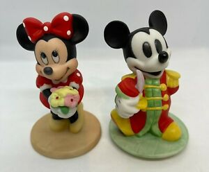 """Disney Mickey and Minnie Mouse Figurines Figures Vintage Porcelain 4"""" - Lot of 2"""